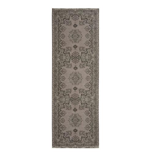 Premium Cotton Light Grey and Multi Colour Rug (Size 240x80 Cm)