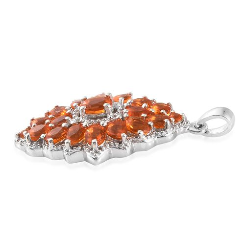 WEBEX- Jalisco Fire Opal (Ovl) Cluster Pendant in Platinum Overlay Sterling Silver 2.000  Ct.