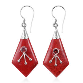 Royal Bali Collection - Sponge Coral, Red Zircon Hook Earrings in Sterling Silver