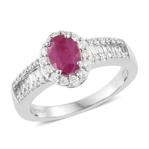 Rhapsody 950 Platinum AAAA Burmese Ruby (1.00 Ct) and Diamond (VS/E-F) Ring 1.500 Ct