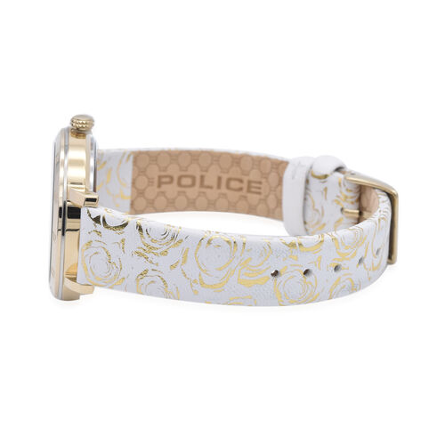 Police PONTA Watch with White Patterned Strap and Champagne Dial
