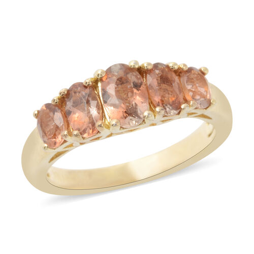 NY Close Out- Andalusite (Ovl) Five Stone Ring in Yellow Gold Overlay Sterling Silver 1.50 Ct.