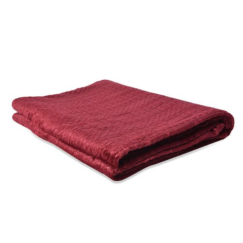 Microfibre Flannel Embossed Pattern Blanket (Size 150x200 Cm) - Wine Red
