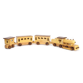 Palace on Wheels Inspired Handmade Sheesham Wood Train Toy with 3 Compartments (Size 94x7x10.75 Cm)