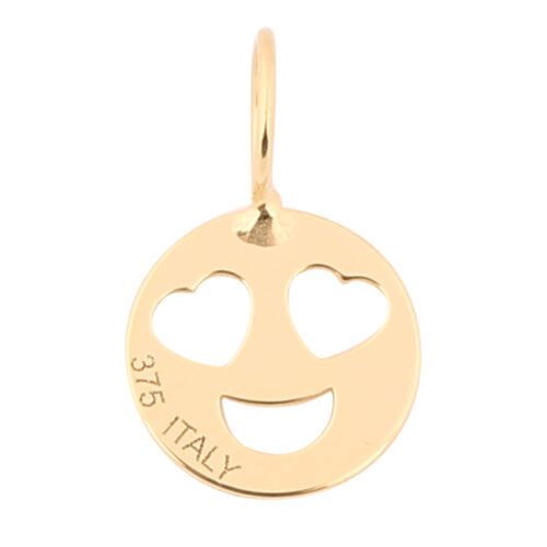 Italian Made - 9K Yellow Gold Heart Eyes Smiley Pendant