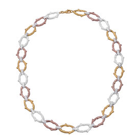 Vicenza Collection Platinum, Yellow and Rose Gold Overlay Sterling Silver Necklace (Size 20), Silver