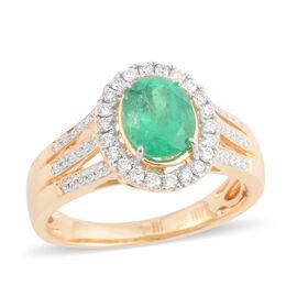 ILIANA 1.66 Ct AAAA Boyaca Colombian Emerald and Diamond Halo Ring in 18K Gold 5.13 Grams SI GH