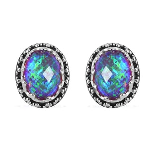 Sajen Silver Cultural Flair Collection - Quartz Doublet Simulated Opal Lavender Earrings (with Push