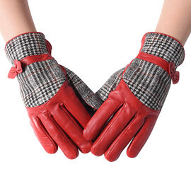 100% Genuine Leather Plaid Pattern Gloves with Bowknot - Red