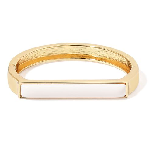 Designer Inspired-Simulated White Howlite Bangle (Size 7 to 7.5) Yellow Gold Plated