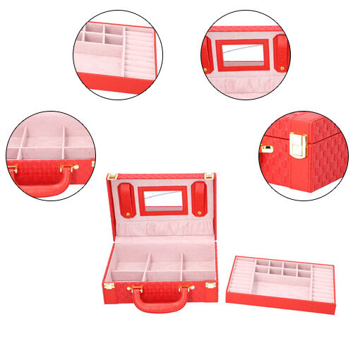 Woven Texture Briefcase Design 2-Layer Jewellery Box in Red