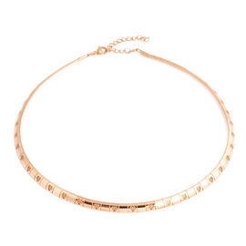 Stainless Steel Collar Necklace (Size 18 and 2 inch Extender) in Rose Gold Plating