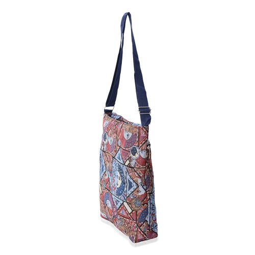 Multi Colour Geometrical Moon and Sun Pattern Handbag with Adjustable Shoulder Strap (Size 32x27x5.5x36 Cm)