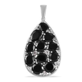 Elite Shungite (Rnd and Ovl), Natural Cambodian Zircon Cluster Drop Pendant in Platinum Overlay Ster