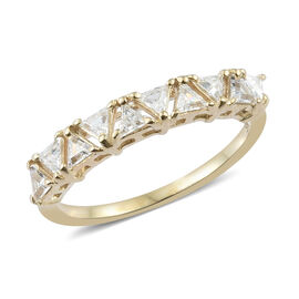 J Francis - 9K Yellow Gold (Tri) Ring Made with SWAROVSKI ZIRCONIA