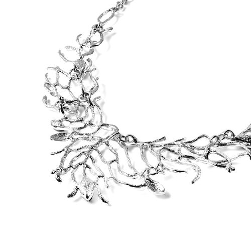Designer Inspired Simulated Grey Spinel Necklace (Size 20 with 3 inch Extender) in Silver Tone