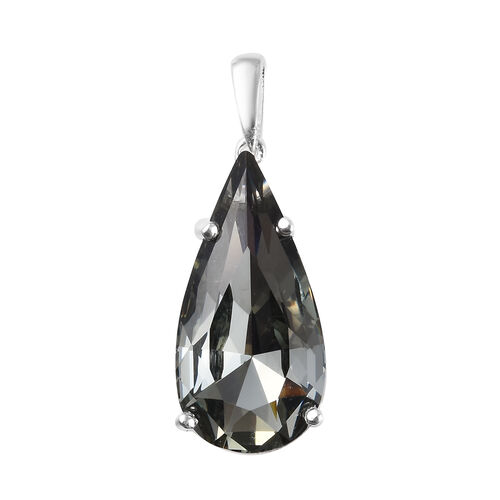 J Francis Black Diamond Colour Crystal from Swarovski Solitaire Drop Pendant in Sterling Silver