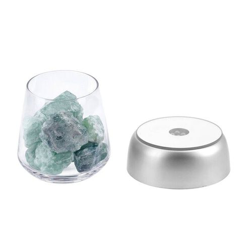 The 5th Season- Refreshing Spring Scented Fluorite Gems with Colour Changing LED Base Glass and Basket Box Included Fluorite and Essential Oil (3xAAA Battery not Included)