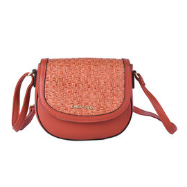 LOCK SOUL Weave Pattern Crossbody Bag with Shoulder Strap (Size 20x16x7Cm) - Brick Red