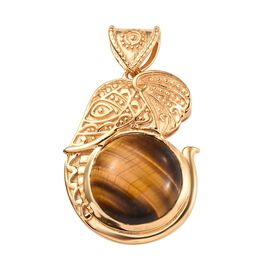 Designer Inspired- Tigers Eye (Rnd 15 mm) Elephant Head Pendant in 18K Yellow Gold Plated 11.75 Ct.