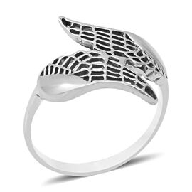 ARTISAN CRAFTED - Sterling Silver Angel Wing Ring (Size N)