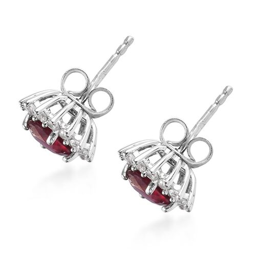 9K White Gold AAA African Ruby (Rnd), Natural Cambodian Zircon Halo Stud Earrings (with Push Back) 3.25 Ct.