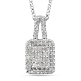 Diamond (Rnd) Pendant With Chain (Size 18) in Platinum Overlay Sterling Silver 0.34 Ct.