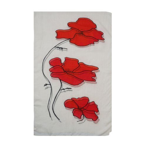 100% Mulberry Silk Poppy Print Scarf (180x50cm) - White