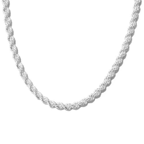 One Time Mega Deal-Sterling Silver Rope Necklace (Size 20), Silver wt 22.30 Gms.