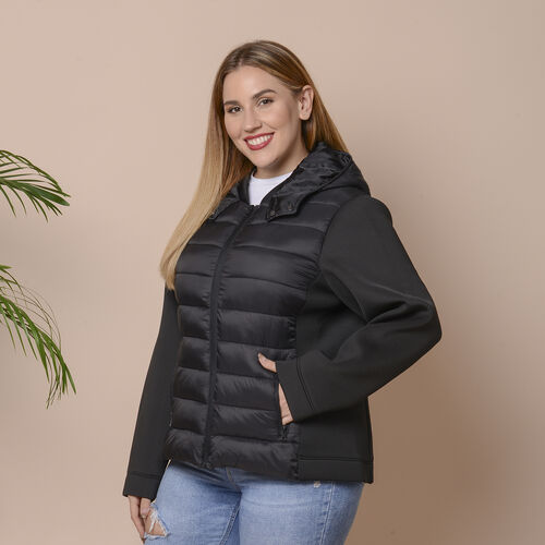 Winter Puffer Jacket with Hoodie in Classic Black (Size: S, 10-12)