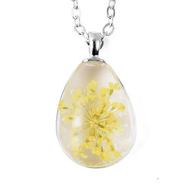 Dried Flower Necklace (Size 24 with 2 inch Extender) in Silver Tone