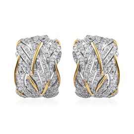 Super Auction- Diamond (Rnd) Earrings (with Clasp) in Platinum and Yellow Gold Overlay Sterling Silv