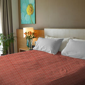 100% Cotton Orange and Multi Colour Bed Cover Size 240x170 Cm