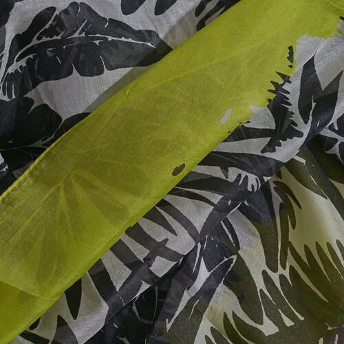 100% Mulberry Silk Lemon Yellow, Black and White Colour Handscreen Leaves Printed Scarf (Size 200X170 Cm)