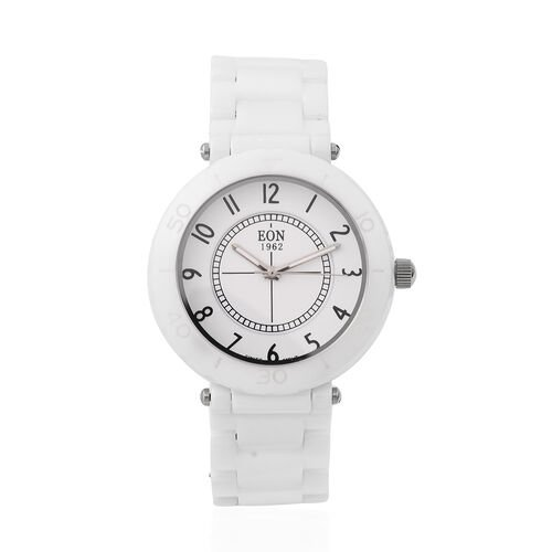 EON 1962 Swiss Movement 3 ATM Water Resistant Watch in Stainless Steel with White Ceramic Chain Stra