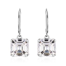 J Francis Swarovski White Crystal Solitaire Drop Earrings with Lever Back in Platinum Plated Silver
