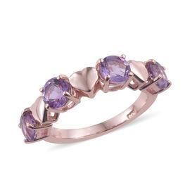 Rose De France Amethyst (Rnd) Ring in Rose Gold Overlay Sterling Silver 1.750 Ct.