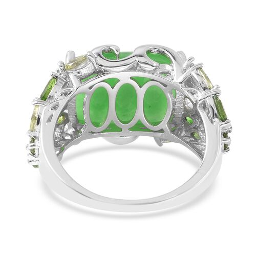 Green Jade (Cush 16x12 mm), Multi Gemstone Ring in Rhodium Overlay Sterling Silver 12.25 Ct, Silver wt 5.66 Gms