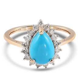 9K Yellow Gold Arizona Sleeping Beauty Turquoise and Diamond Halo Ring 2.20 ct.