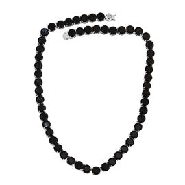 183.50 Ct Boi Ploi Black Spinel Beaded Necklace in Platinum Plated Silver 51.17 Grams 20 Inch
