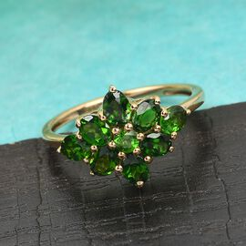 Russian Diopside Cluster Ring in 14K Gold Overlay Sterling Silver 1.70 Ct.