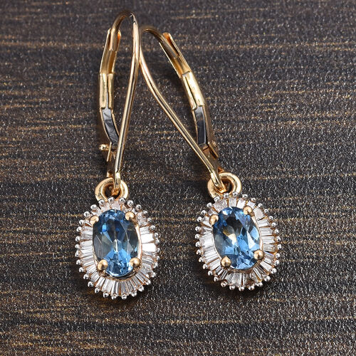 ILIANA 18K Yellow Gold AAA Santa Maria Aquamarine (Ovl 6x4mm), Diamond (SI/G-H) Lever Back Earrings 1.25 Ct.