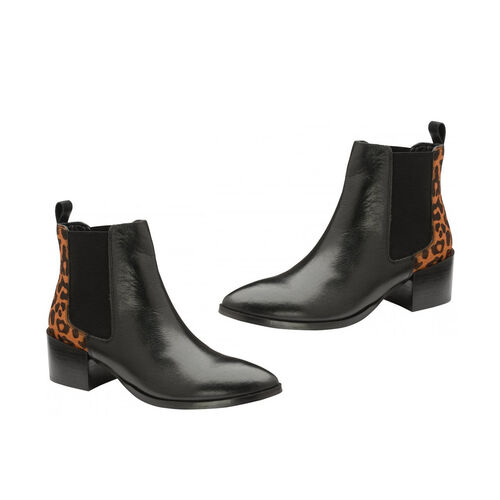 Ravel Saxmon Leather Ankle Boots with Leopard Print Details (Size 4) - Black