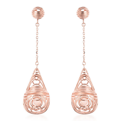 Isabella Liu Sea Rhyme Collection White Mother of Pearl Dangle Earrings in Rose Gold Plated Silver