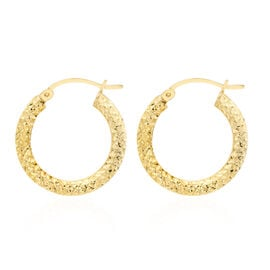 Italian Made 9K Yellow Gold Diamond Cut Hoop Earrings (with Clasp Lock), Gold wt 2.00 Gms.