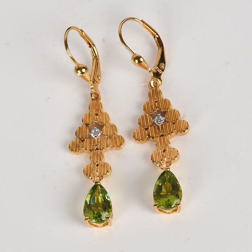 AA Hebei Peridot and Natural Cambodian Zircon Lever Back Earrings in 14K Gold Overlay Sterling Silver 2.75 Ct.