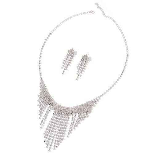 AAA White Austrian Crystal Waterfall Necklace (Size 22) and Earrings (with Push Back) in Silver Tone