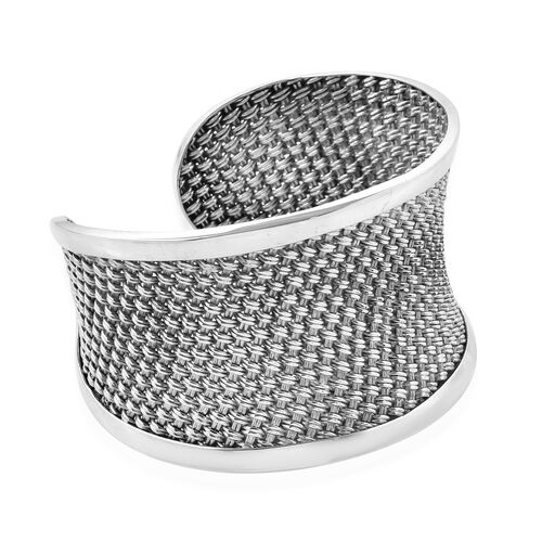 Close Out Deal- Sterling Silver Cuff Bangle (Size 7.5), Silver wt 62.48 Gms