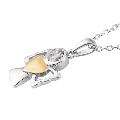 Simulated Diamond Pendant With Chain (Size 20) in Yellow Gold and Platinum Overlay Sterling Silver