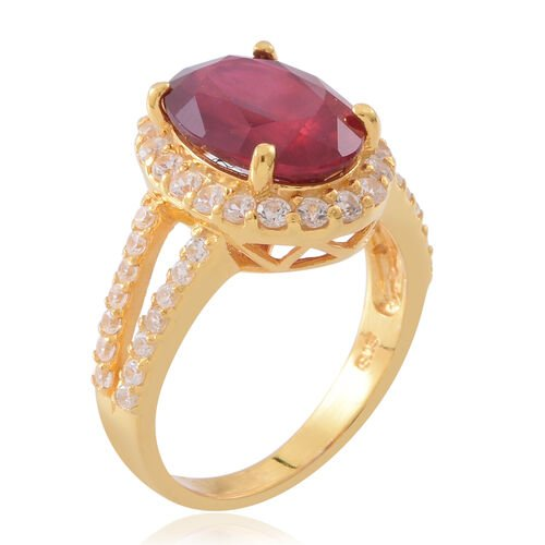Designer Inspired-African Ruby (Ovl 14x10 mm), Natural White Cambodian Zircon Ring in 14K Gold Overlay Sterling Silver 10.250 Ct.